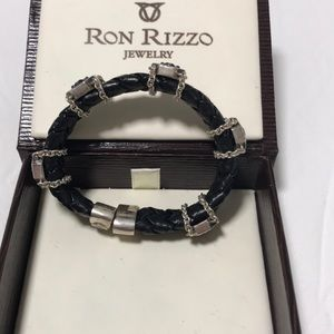 Ron Rizzo Jewelry - Ron Rizzo black leather w/ purple diamond bracelet